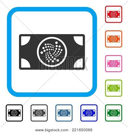 Iota Banknote icon. Flat grey iconic symbol in a blue rounded rectangular frame. Black, grey, green, blue, red, pink color variants of iota banknote vector. Designed for web and app UI.