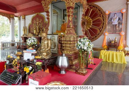 KOH SAMUI, THAILAND - December 13, 2017: Wat Khunaram. Mummy Monk in Koh Samui at Wat Khunaram - Lamai Beach Attractions. Mummified monk