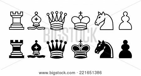 chess pieces, isolated chess figures black and white