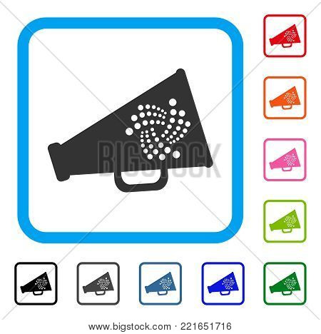 Iota Megaphone icon. Flat grey pictogram symbol in a blue rounded rectangle. Black, gray, green, blue, red, pink color variants of iota megaphone vector. Designed for web and application interfaces.