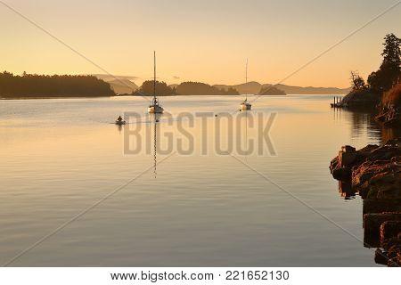 Ganges Harbor, British Columbia. A calm anchorage off Ganges in the Gulf Islands, British Columbia.