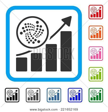 Iota Trend Up Chart icon. Flat grey pictogram symbol inside a blue rounded rectangle. Black, gray, green, blue, red, pink color versions of iota trend up chart vector.