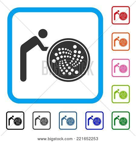 Person Rolling Iota Coin icon. Flat gray iconic symbol inside a blue rounded rectangle. Black, grey, green, blue, red, orange color versions of person rolling iota coin vector.