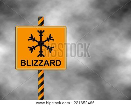 Winter warning sign shows danger of ice and snow at street, highway or road. Blizzard sign (Risk of Ice warning sign) isolated on a grey sky. Vector illustration.