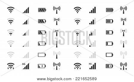 mobile phone system icons, wifi signal strength, battery charge level