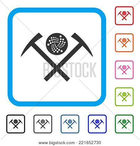Iota Mining Hammers icon. Flat grey pictogram symbol inside a blue rounded rectangular frame. Black, grey, green, blue, red, orange color variants of iota mining hammers vector.