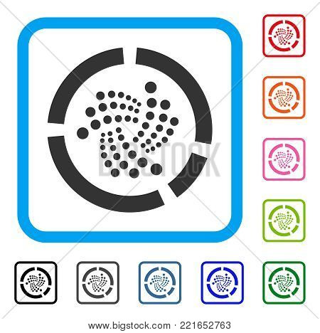 Iota Pie Diagram icon. Flat grey pictogram symbol inside a blue rounded frame. Black, gray, green, blue, red, orange color versions of iota pie diagram vector.