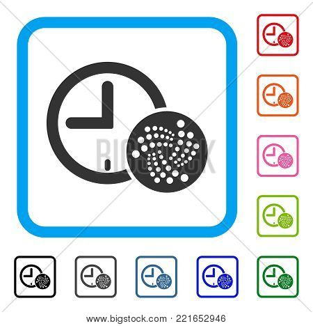 Iota Time icon. Flat gray iconic symbol in a blue rounded rectangle. Black, gray, green, blue, red, pink color versions of iota time vector. Designed for web and application UI.