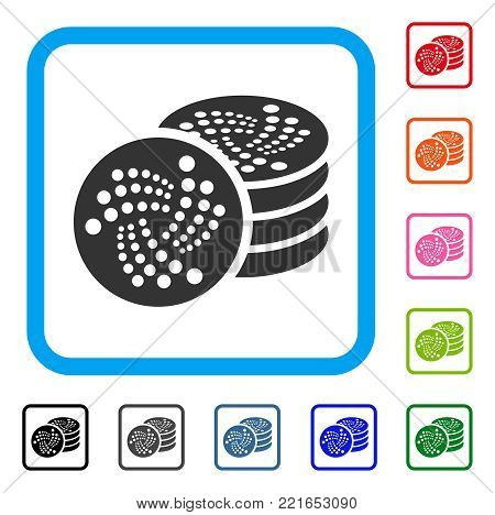 Iota Coins icon. Flat grey iconic symbol in a blue rounded square. Black, gray, green, blue, red, pink color versions of iota coins vector. Designed for web and application interfaces.