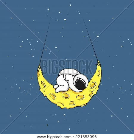 Cute astronaut sleeps on crescent moon.Tired spaceman.Childish vector illustration