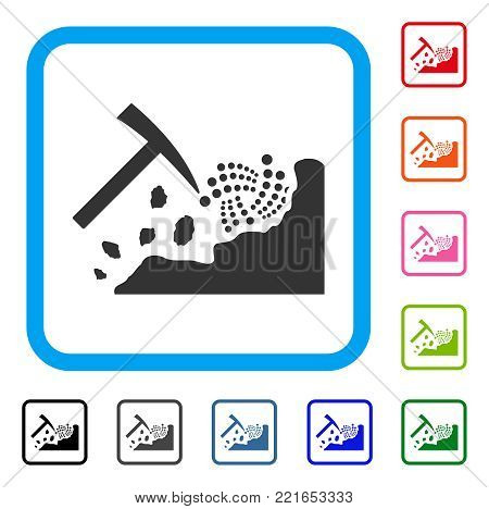 Mining Iota Rocks icon. Flat gray iconic symbol in a blue rounded rectangle. Black, grey, green, blue, red, pink color additional versions of mining iota rocks vector.