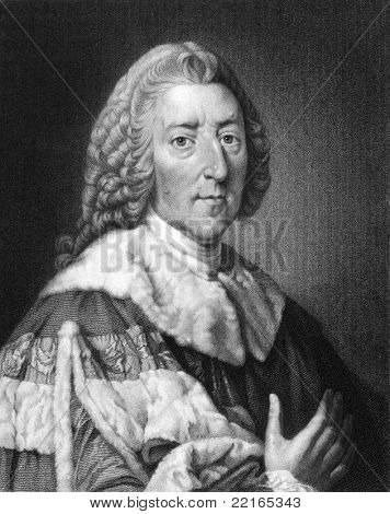 William Pitt (1708-1778). Engraved by W.Holl and published in The Gallery Of Portraits With Memoirs encyclopedia, United Kingdom, 1833.