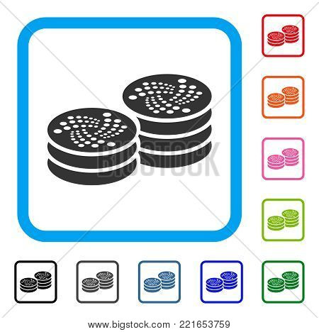 Iota Coin Columns icon. Flat gray pictogram symbol in a blue rounded rectangular frame. Black, gray, green, blue, red, pink color additional versions of iota coin columns vector.