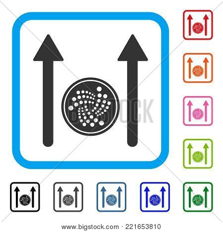 Iota Coin Send Arrows icon. Flat grey iconic symbol inside a blue rounded square. Black, gray, green, blue, red, pink color variants of iota coin send arrows vector.