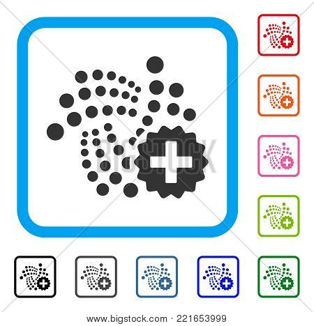 Iota Create icon. Flat grey pictogram symbol in a blue rounded frame. Black, gray, green, blue, red, pink color additional versions of iota create vector. Designed for web and application UI.