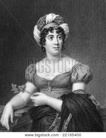 Germaine de Stael (1766-1817). Engraved by E.Scriven and published in The Gallery Of Portraits With Memoirs encyclopedia, United Kingdom, 1833.