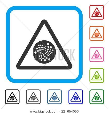 Iota Danger icon. Flat gray pictogram symbol in a blue rounded squared frame. Black, grey, green, blue, red, orange color versions of iota danger vector. Designed for web and software UI.