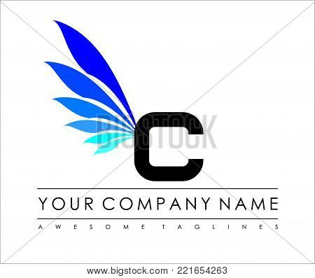 C Letter Blue Wings Logo Design Icon. Flying Wing Letter Logo with Creative Black Wing Concept.