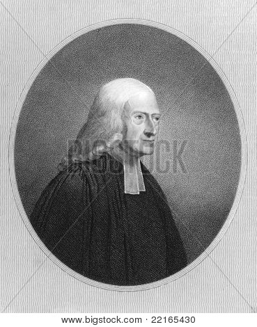 John Wesley (1703-1791). Engraved by J.Pofselwhite and published in The Gallery Of Portraits With Memoirs encyclopedia, United Kingdom, 1833.