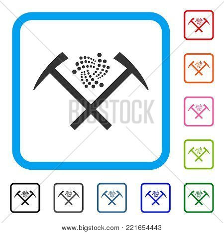 Iota Mining Hammers icon. Flat grey iconic symbol inside a blue rounded rectangle. Black, gray, green, blue, red, orange color versions of iota mining hammers vector.