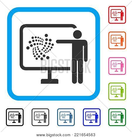 Iota Project Presentation icon. Flat grey pictogram symbol in a blue rounded square. Black, gray, green, blue, red, pink color variants of iota project presentation vector.