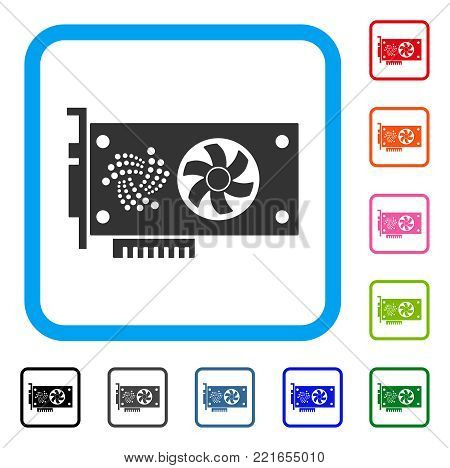 Iota Video Gpu Card icon. Flat gray pictogram symbol in a blue rounded square. Black, gray, green, blue, red, pink color variants of iota video gpu card vector.