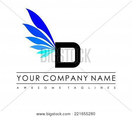 D Letter Blue Wings Logo Design Icon. Flying Wing Letter Logo with Creative Black Wing Concept.