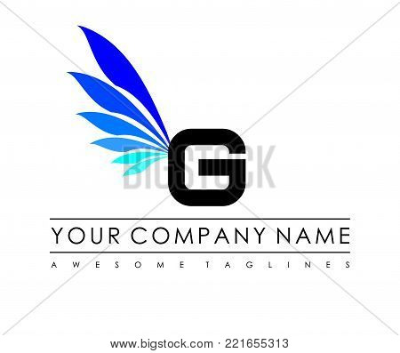 G Letter Blue Wings Logo Design Icon. Flying Wing Letter Logo with Creative Black Wing Concept.