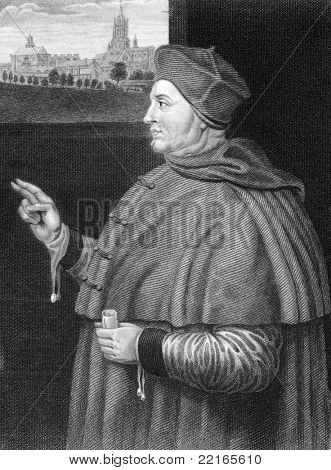 Thomas Wolsey (1473-1530). Engraved by W.H.More and published in Lodge's British Portraits encyclopedia, United Kingdom, 1823.