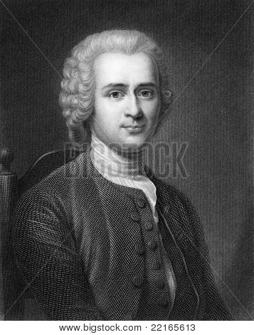 Jean-Jacques Rousseau (1712-1778). Engraved by R.Hart and published in The Gallery Of Portraits With Memoirs encyclopedia, United Kingdom, 1833.