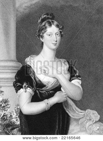 Princess Charlotte Augusta of Wales (1796-817). Engraved by E.Scriven and published in The National Portrait Gallery Of Illustrious And Eminent Personages encyclopedia, United Kingdom, 1847.