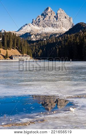 Winter landscape at the frozen Misurina lake in Italy