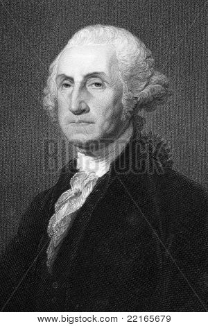 George Washington (1731-1799). Engraved by W.Humphreys and published in The Gallery Of Portraits With Memoirs encyclopedia, United Kingdom, 1837.