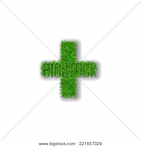 Grass symbol plus. Green plus, isolated on white background. Green grass 3D plus, symbol of fresh nature, plant lawn, summer. Grass texture spring font. Beautiful eco design Vector illustration