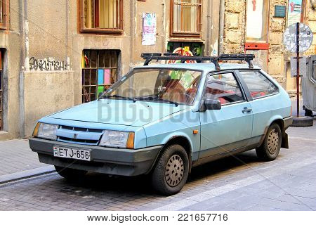 Budapest, Hungary - July 23, 2014: Soviet hatchback Lada 2108 in the city street.