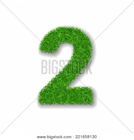Grass number 2. Green 3D number two, isolated on white background. Green grass 2, symbol of fresh nature, plant lawn, summer. Grass texture spring font. Beautiful eco design Vector illustration