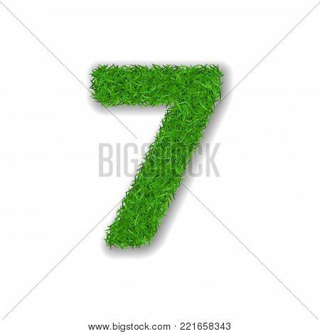 Grass number seven. Green 3D number 7, isolated on white background. Green grass seven, symbol of fresh nature, plant lawn, summer. Grass texture spring font. Beautiful eco design Vector illustration