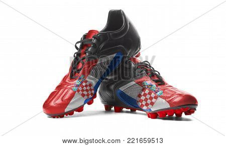 The Croatian flag painted on football boots. Isolated on white background.