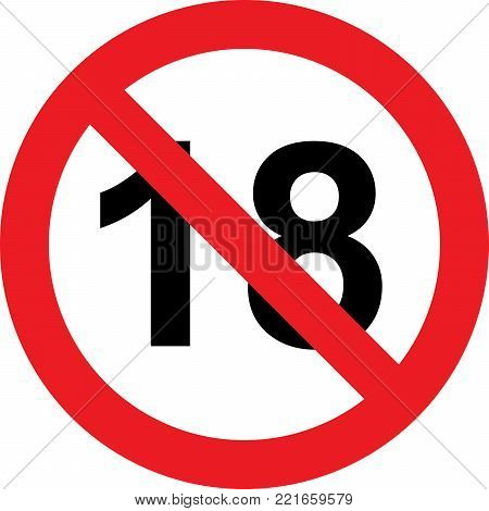 18 Years Limitation Sign On A White Background