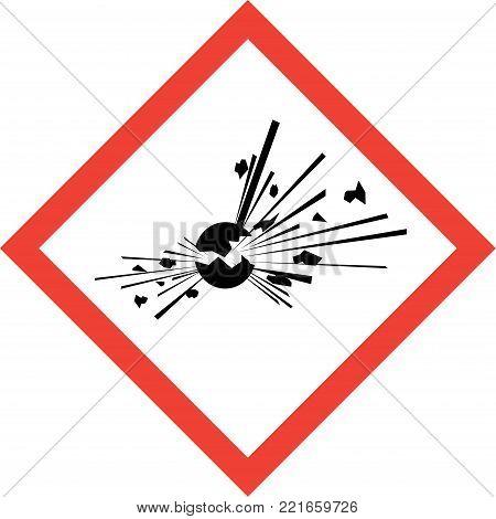 Hazard sign with explosive substances symbol on white background