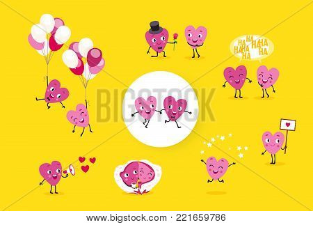 Love story. A collection of animated hearts, a loving guy and a girl in different situations. Isolated groups of characters, illustrations for Valentines Day, Wedding, Engagement. Vector set 2