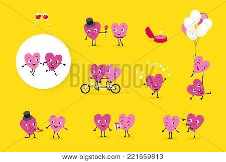 Love story. A collection of animated hearts, a loving guy and a girl in different situations. Isolated groups of characters, illustrations for Valentines Day, Wedding, Engagement. Vector set 1.