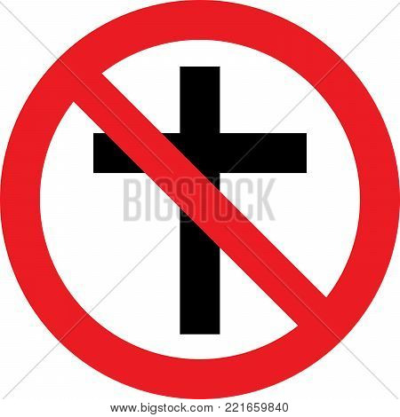 No christian religion allowed sign on white background