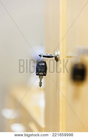 view of a wooden key locker abbstract background