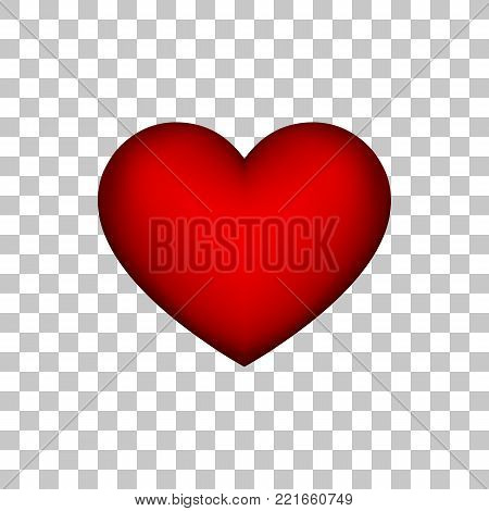 Red heart sign, abstract Valentines day blank button template with transparent background for logo, design concepts, badges, banners, postcards, web, prints. 14th february. Vector illustration.