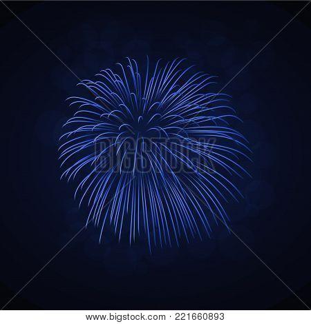 Beautiful blue firework. Bright firework isolated on black background. Light blue decoration firework for Christmas, New Year celebration, holiday, festival, birthday card Vector illustration