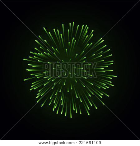 Beautiful green firework. Bright firework isolated on black background. Light green decoration firework for Christmas, New Year celebration, holiday, festival, birthday card Vector illustration