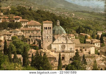 Vintage image of the Saint Rufino Cathedral in Assisi, Italy