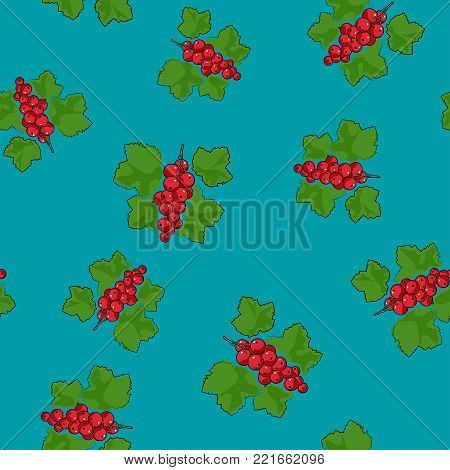 Seamless Pattern of Redcurrant , Fruit Berry on Azure Background