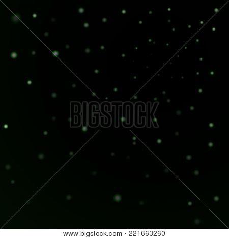 Green stars black night sky background. Abstract bokeh glowing space design. Starry milky way. Galaxy starlight shine sparkle. Golden shiny fantasy glow in dark Vector illustration